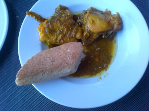 Lunch at the Airport hotel...Chicken stewed in an olive tapenade of sorts and bread. Delish!