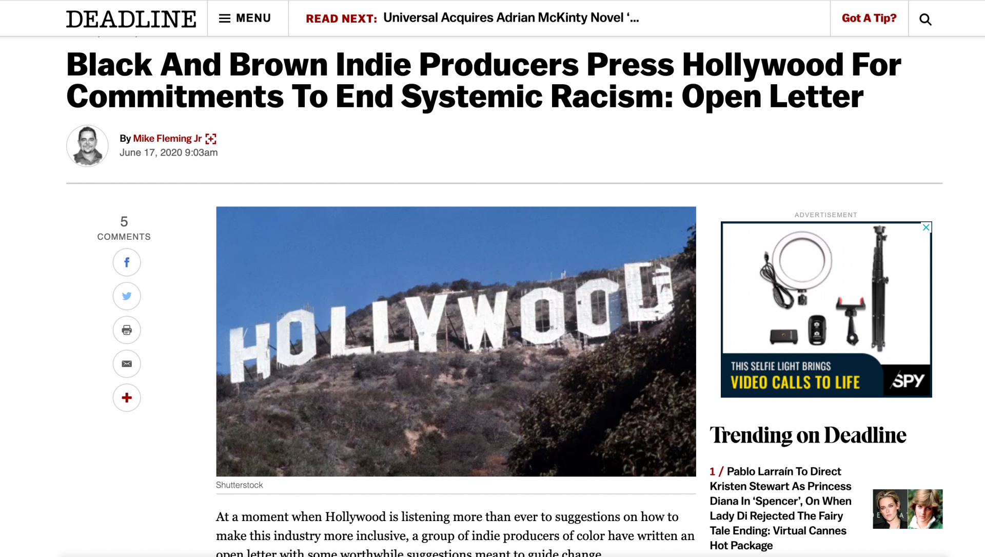 #TelltheTruthHollywood: An Open Letter to Hollywood in the Time of #BlackLivesMatter